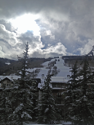 A view of Vail Mountain from the village.